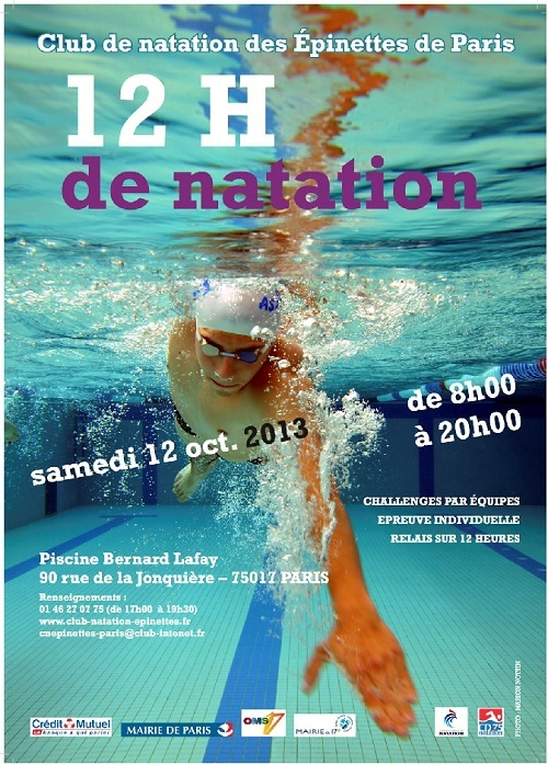 Les 12 heures de natation piscine bernard lafay samedi 12 octobre 2013 - Piscine municipale bernard lafay ...