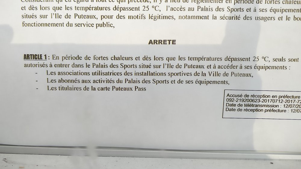 Info  Restriction Accs Palais Sport Puteaux  NageursCom